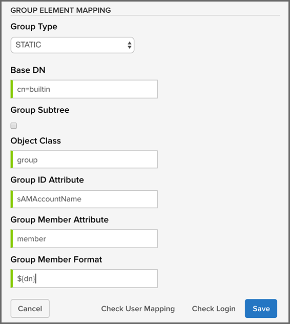 Static Group LDAP Mapping