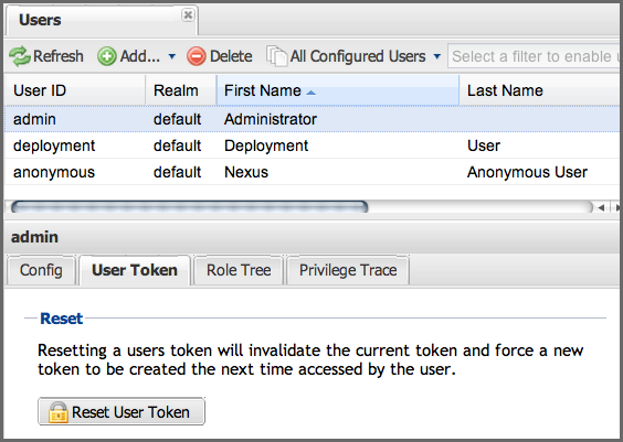Security Setup with User Tokens