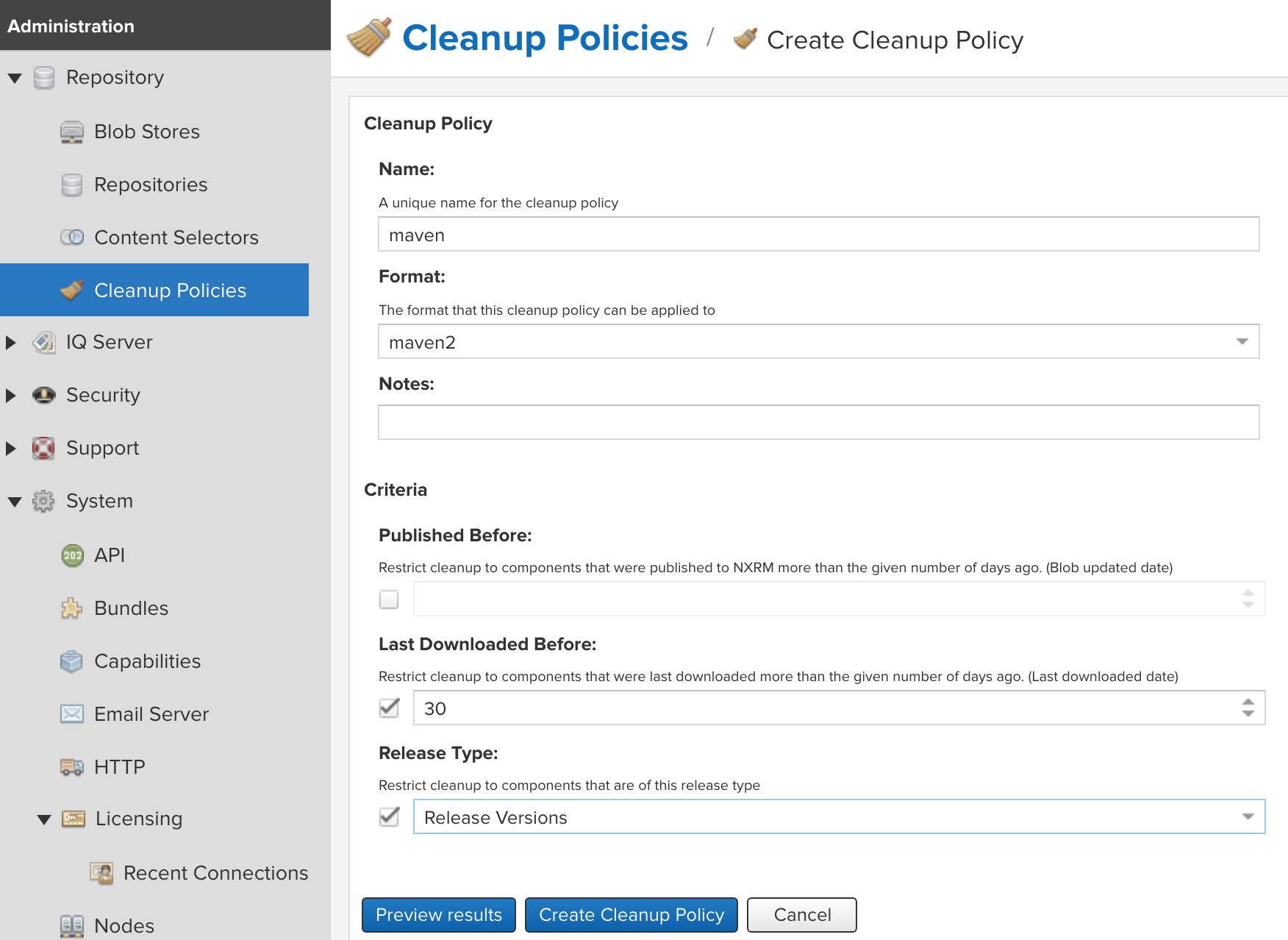 Cleanup Policies